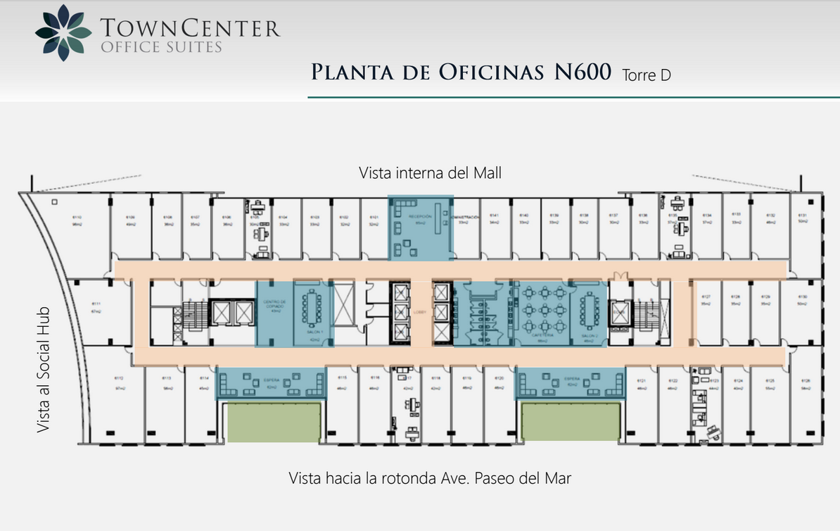 Town center costa del este grupo d d real estate for Planos de oficinas